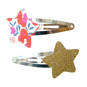 Red Wiltshire Liberty And Glitter Star Hair Clips
