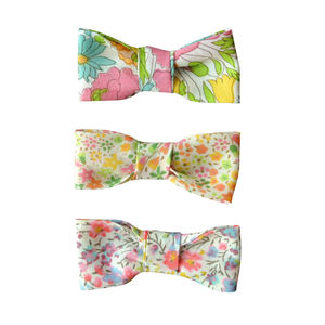 Liberty Bow Hair Clips Yellow Trio