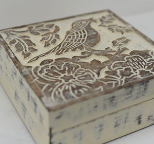 Hand Carved Wooden Storage Box