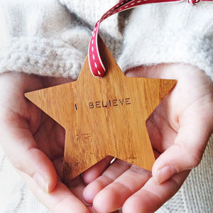 'I Believe' Wooden Christmas Star Decoration - tree decorations