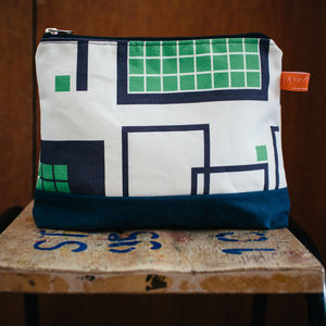 Grid Print Wash Bag With Waxed Cotton Base