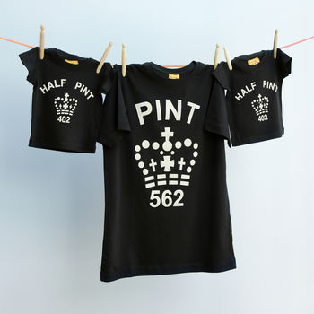 Matching Pint T Shirt Short Sleeve Trio Set Dad / Child
