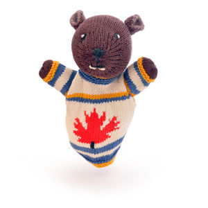 Hand Knitted Beaver Puppet