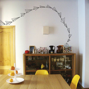 Pink Paper Plane Vinyl Stickers - home decorating