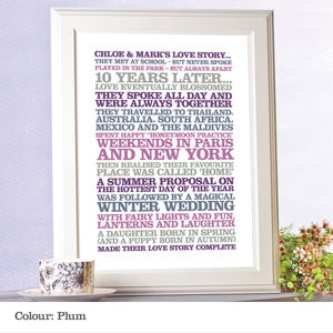 Personalised 'Love Story' Poster Print