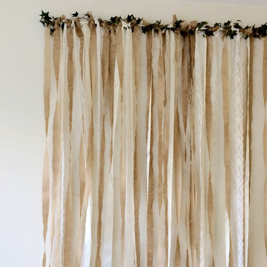 Hessian And Lace Wedding Backdrop On White Pole By Just