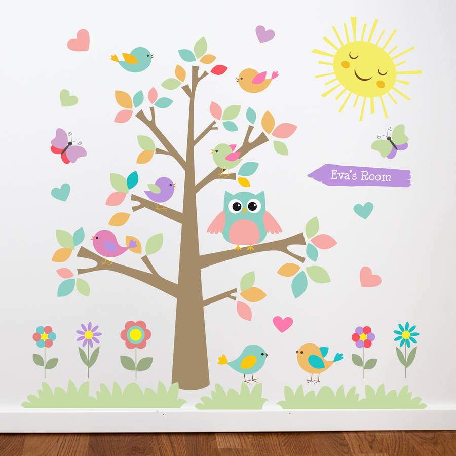 Awesome Owl Tree Bright. Pastel Colour Theme Images