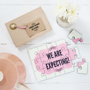 Pregnancy Announcement Personalised Jigsaw - announcement and gender reveal ideas