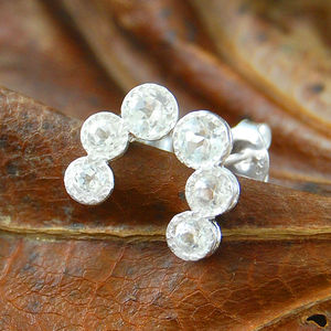 Triple White Topaz Gemstone Silver Earrings - earrings