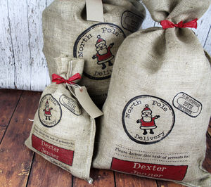 Personalised Christmas Present Sack - ribbon & wrap