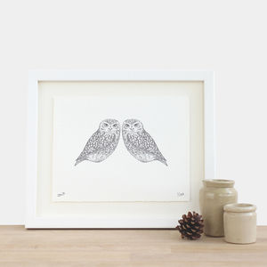 Two Owls Print - drawings & illustrations