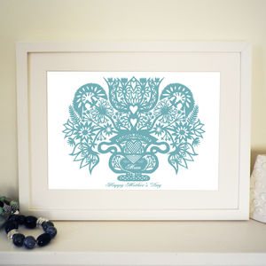 Personalised Mum's Hearts And Flowers Print - posters & prints