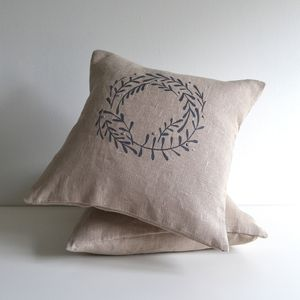 Winter Mistletoe Berry Wreath Cushion Cover - living room