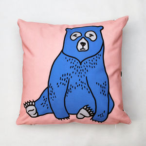 Illustrated Bear Cushion - cushions