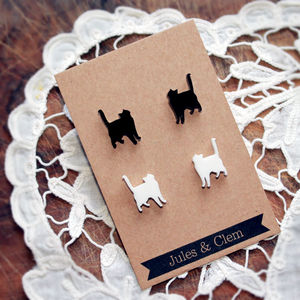 Cat Stud Earring Set