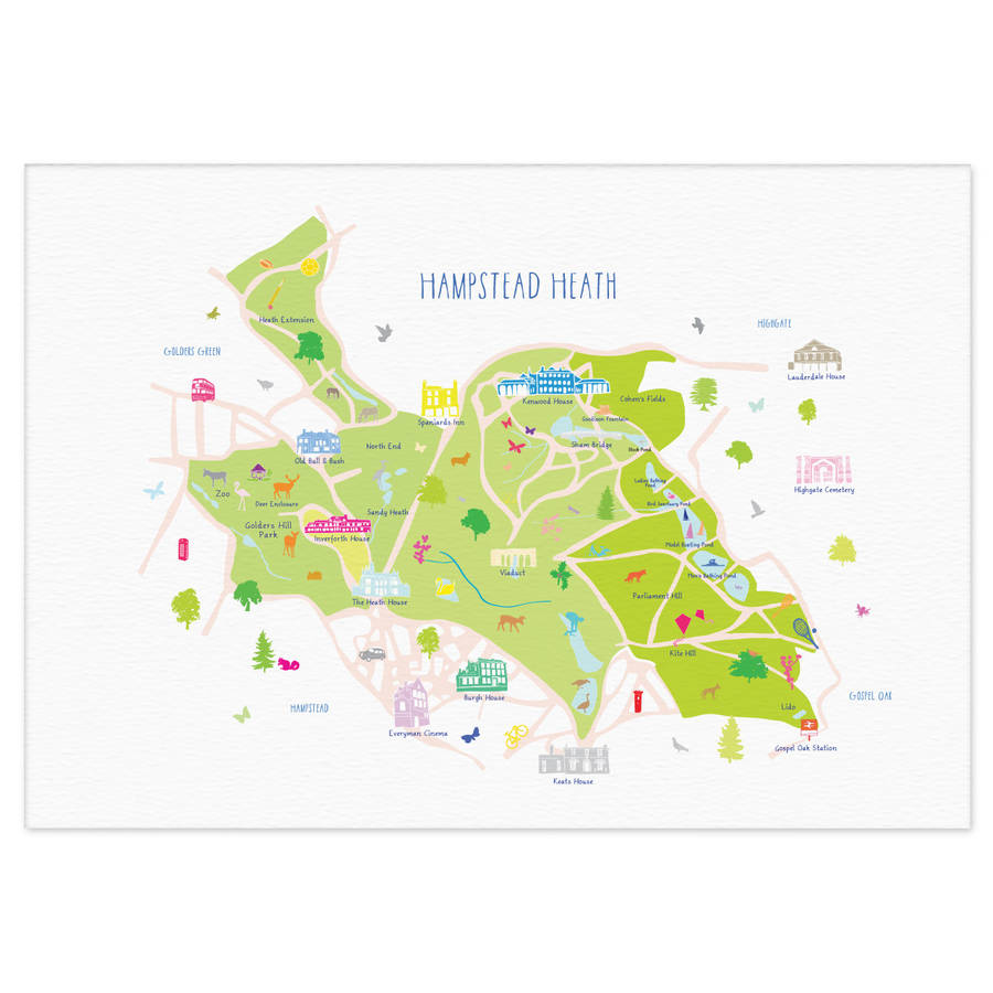 Hampstead Heath Map map of hampstead heath art print by holly francesca  Hampstead Heath Map