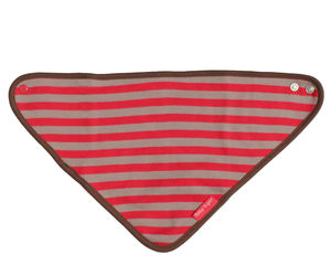 Organic Cotton Red And Brown Dribble Bib