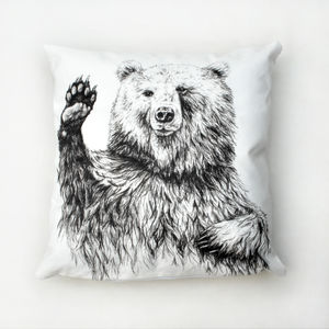 Waving Bear Illustrated Cushion - bedroom