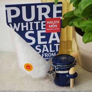 Halen Môn Sea Salt And Ceramic Jar Gift Set - salt & pepper pots