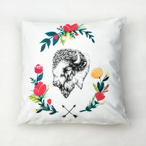 Floral Bison Cushion - patterned cushions