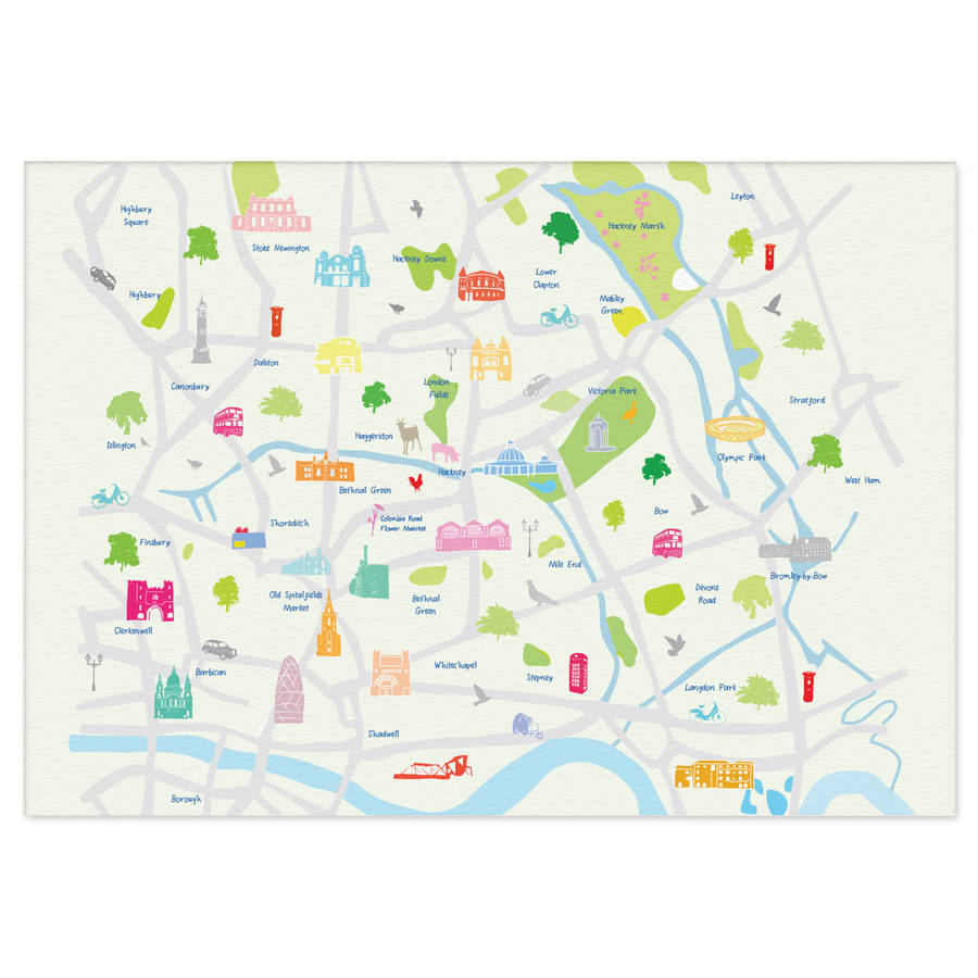 map of east london print
