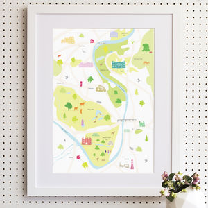 Map Of Hampton Court + Surrounding Area Print - children's room