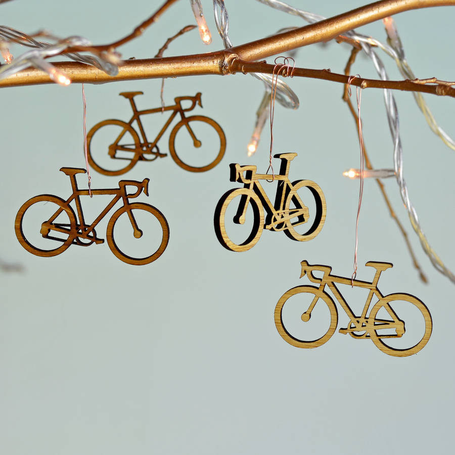 Christmas Bamboo Bicycle Tree Decorations By Oakdene Designs Notonthehighstreet