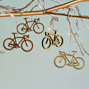 Christmas Bamboo Bicycle Tree Decorations - gifts for cyclists
