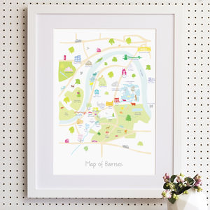 Map Of Barnes Print - children's pictures & paintings