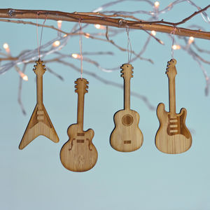 Bamboo Set Of Four Guitar Decorations - tree decorations