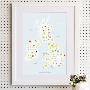 British Isles Food Produce Map Print