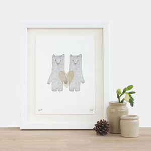 Wedding Bears Gold Heart Print - drawings & illustrations