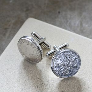 50th 60th 70th 80th Anniversary Sixpence Cufflinks - birthday gifts