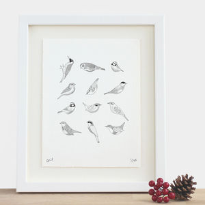 Twelve Birds Print - drawings & illustrations
