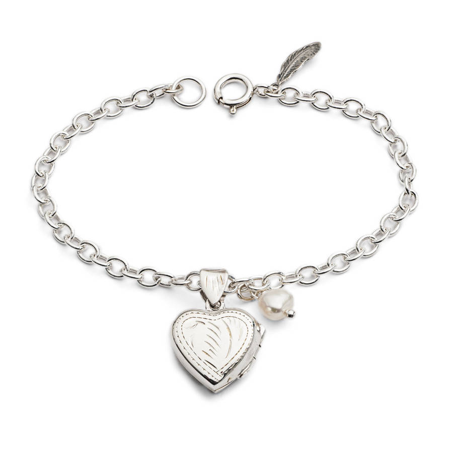 Agnes Locket Bracelet On Chain With Pearl Charm By Harry