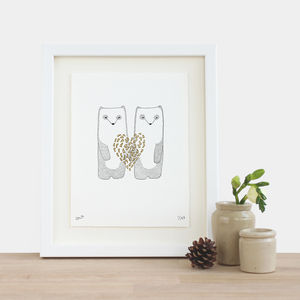 Gold Heart Panda Print - drawings & illustrations