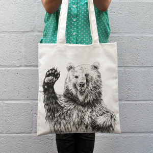 Waving Bear Tote Bag - shoulder bags