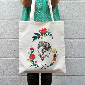 Floral Bison Tote Bag - shoulder bags
