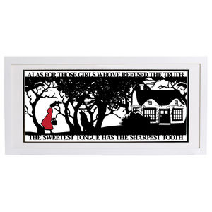 Red Riding Hoods Folly Signed Papercut Print - mixed media pictures for children