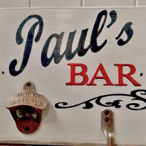 Personalised Bar Sign With Bottle Opener And Hook - decorative accessories