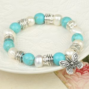 Turquoise And Freshwater Pearl Butterfly Bracelet