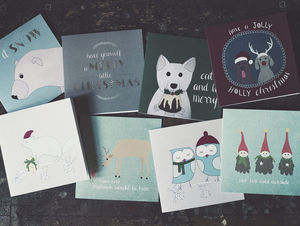 Set Of Eight Animal Christmas Cards - seasonal cards