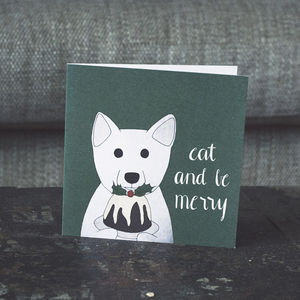 Arctic Fox And Christmas Pudding Festive Card - cards & wrap