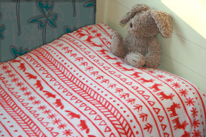 Fair Isle Style Fleece Blanket - children's room