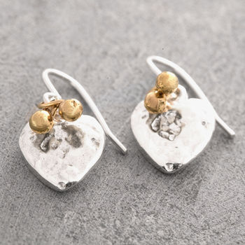 Silver Heart Earrings With 18 K Gold Beads