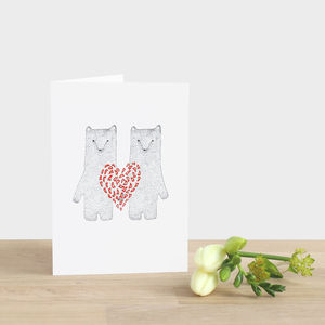 Valentine's Day Red Heart Bears Card - anniversary cards