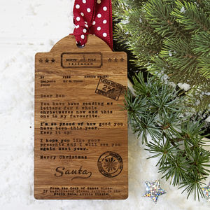 Personalised Telegram From Santa Wooden Gift Tag - cards & wrap