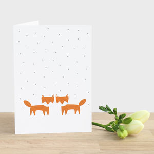 Fox Cubs In The Snow Card