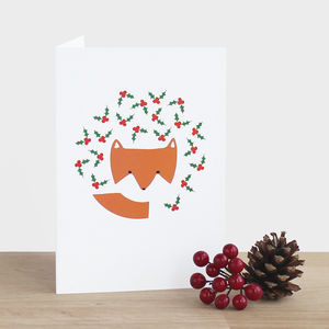 Fox In The Holly Card