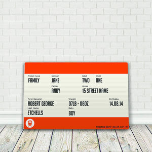 Personalised Family Train Ticket Mounted Plaque